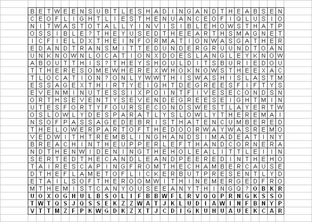 Kryptos Copperplate Cipher Translation Grid