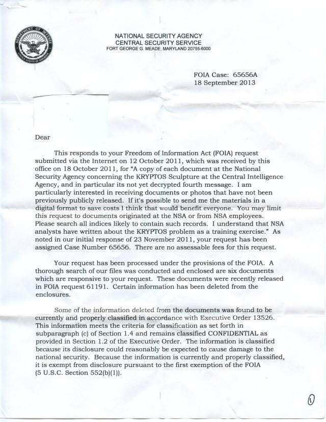 NSA Kryptos FOIA p1